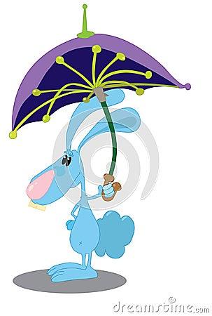 Kaninchen mit Regenschirm