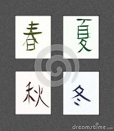 Kanji de quatre saisons