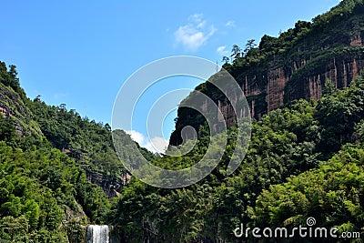 Kanjon och berg i Taining, Fujian, Kina