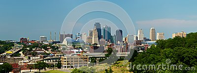 Kansas City Skyline Panorama Editorial Stock Photo