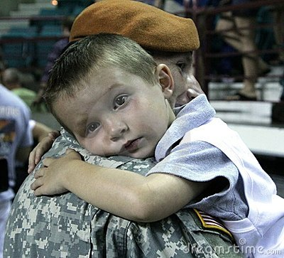 Kansas National Guard soldier and son. Editorial Stock Photo