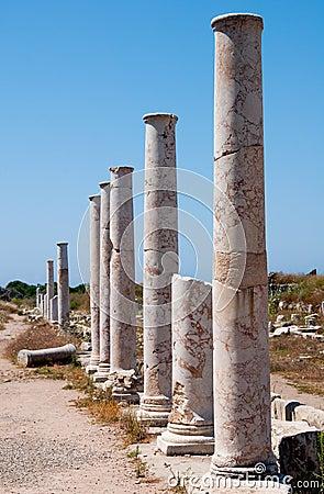 Kant van de de straat de oude stad van Agora, Turkije