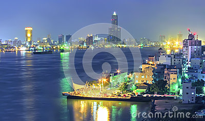 Kaohsiung Harbor at night Stock Photo