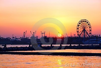 Kaohsiung Harbor Sunset with Ferris Wheel