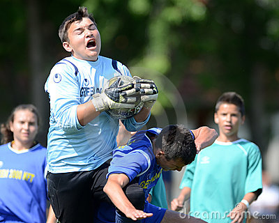 Kaposvar - Baja U14 soccer game Editorial Photography