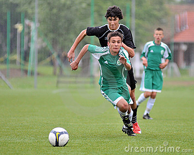Kaposvar - Gyor U15 soccer game Editorial Stock Image