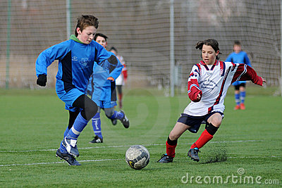 Kaposvar - Pecs U13 soccer game Editorial Photo