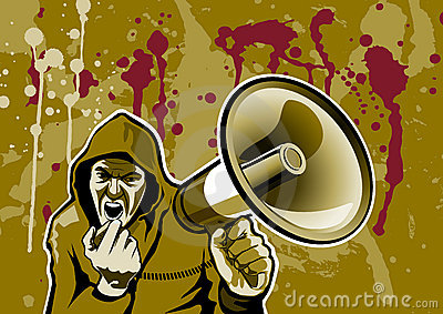 Royalty Free Stock Photo: Kapuzentyp mit Megaphon, dirty style
