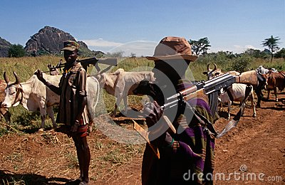Karamojong cattle herders with guns, Uganda Editorial Image