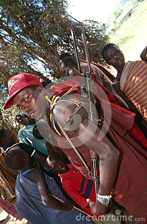 A Karamojong man with a gun, Uganda Editorial Photography