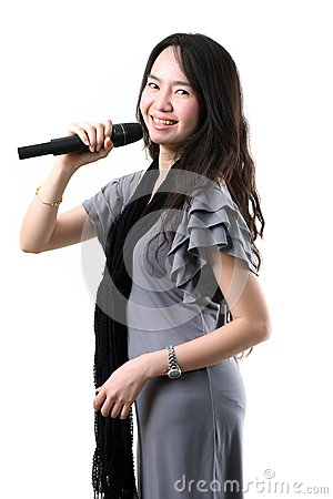 Karaoke singer on a white background.
