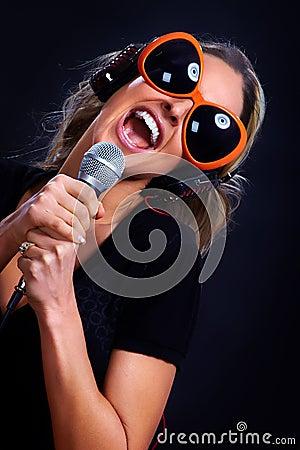 Karaoke singing woman