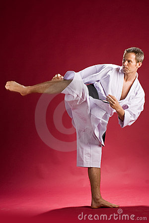Karate black belt kicking