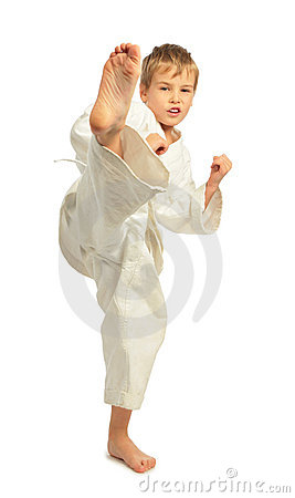 Free Karate Boy Kick A Leg Royalty Free Stock Images - 7891479