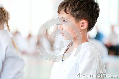 Karate children training in sport