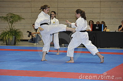 Karate, European Master Cup, Fighting Techniques Editorial Stock Image