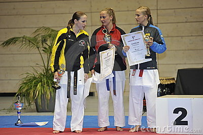Karate, European Master Cup, Lady Randori Winners Editorial Photography