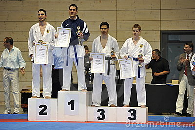 Karate, European Master Cup, Man Randori Winners Editorial Stock Image
