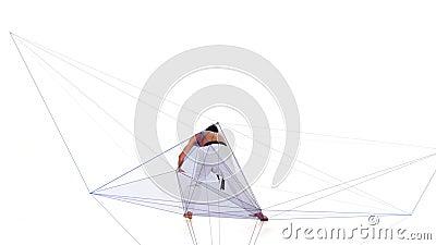 Karate mężczyzna z abstrakcjonistyczną linią Biały tło zdjęcie wideo