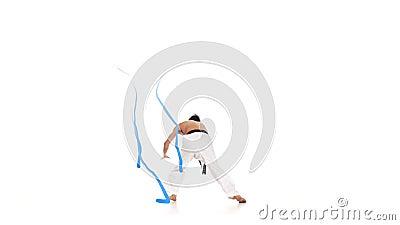 Karate mężczyzna z energetyczną linią Biały tło zbiory
