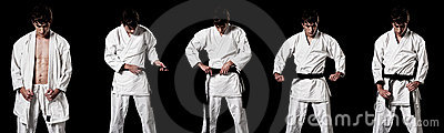 Karate male fighter dressing kimono high contrast