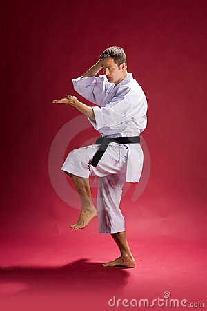 Karate man in action