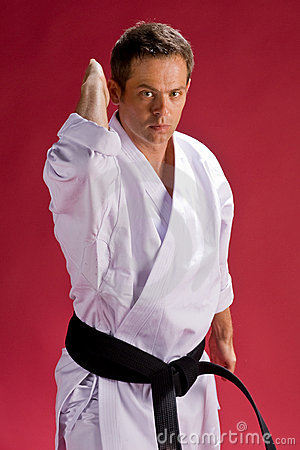 Karate man in black belt