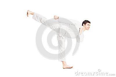 A karate man exercising
