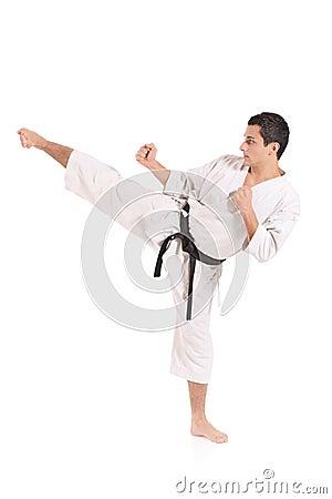 Karate man exercising