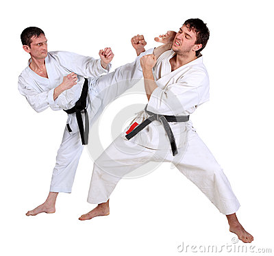 Karate. Men in a kimono