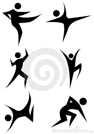 Free Karate Stick Figure Set Stock Photography - 13865272