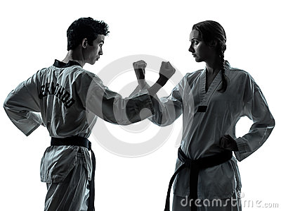 Karate taekwondo martial arts man woman silhouette