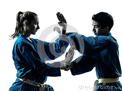 Karate Vietvodao Martial Arts Man Woman Couple Silhouette Stock Photos - Image: 28754873