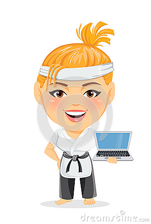 Karate woman in kimono. Smiling funny cartoon character with big head holding laptop. Vector Illustration