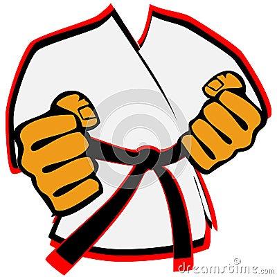 Karateka in kimono martial arts emblem