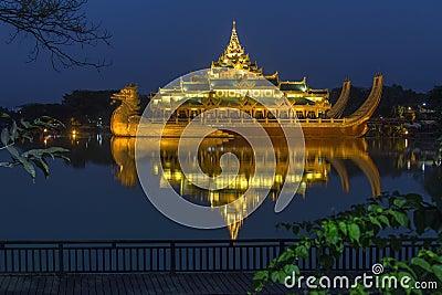 Karaweik - Kandawgyi Lake - Yangon - Myanmar Editorial Stock Image