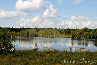 Karelian wild lake in a forest