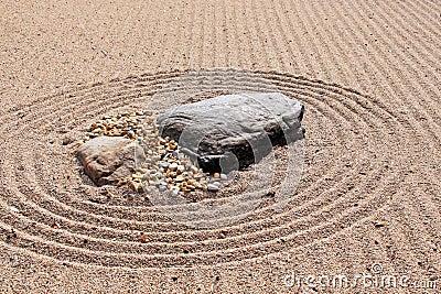 Karesansui (Sea of Sand) Japanese dry rock garden