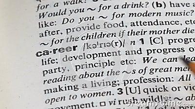 Kariery słowo w słowniku, jaźń rozwoju i profesjonalista promocji, przyrost zbiory