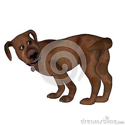 Karikatur-Hund - Jagen des Hecks
