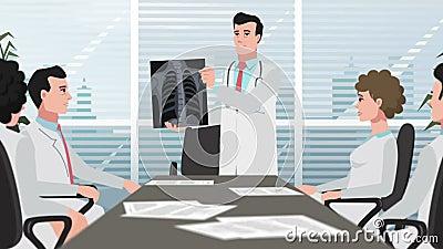 Karikatur-Klinik/Doktor zeigt Brustradiographie stock footage