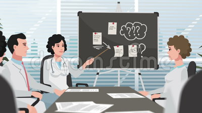 Karikatur-Klinik/Doktoren bei der Sitzung stock video footage