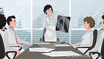 Karikatur-Klinik/Frau zeigt Brustradiographie stock video