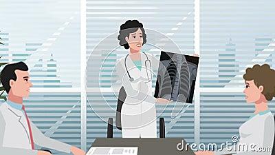 Karikatur-Klinik/Mädchen zeigt Röntgenstrahl stock video
