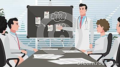 Karikatur-Klinik/Mann auf medizinischer Sitzung stock video
