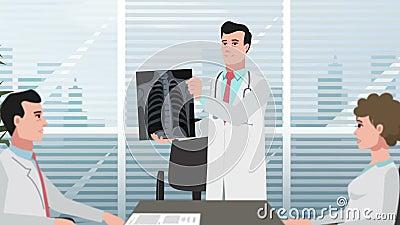 Karikatur-Klinik/Mann zeigt Brustradiographie stock footage