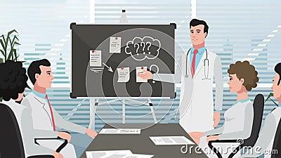 Karikatur-Klinik-/Manndoktor bei der Sitzung stock video footage
