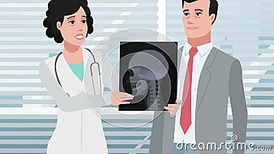 Karikatur-Klinik/Röntgenstrahl des geduldigen Kopfes stock video footage