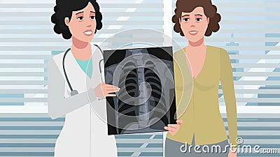 Karikatur-Klinik/Röntgenstrahl des Patientenkastens stock video footage
