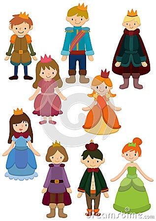 Karikatur-Prinz- und Prinzessinikone